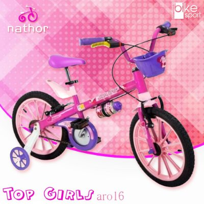 Bicicleta Aro 16 Top Girls Rosa com Cesta