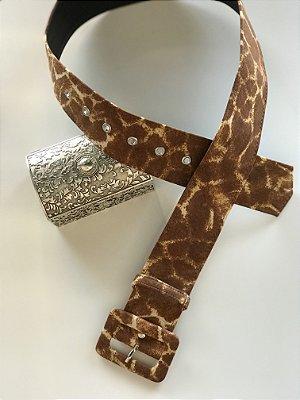 Cinto Animal Print Girafa Fivela Quadrada
