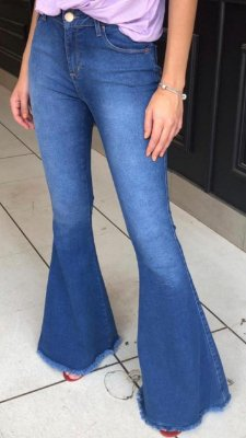 Calça Jeans Maxi Flare