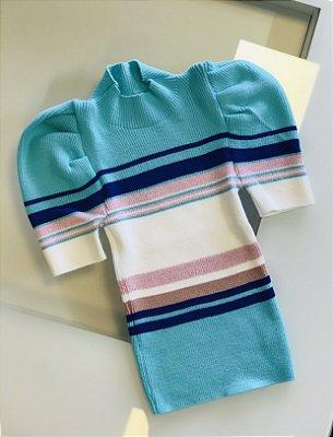 Blusa Canelada Tricot Lurex Colorida