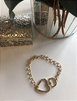Pulseira Coração Dourado Mini Elos