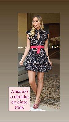 Vestido Animal Print Faixa Pink