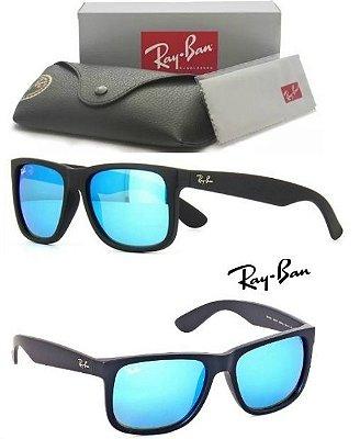 Óculos de Sol Ray-Ban Justin Rb4165 Azul Espelhado Acetato Fosco 7323efbe37