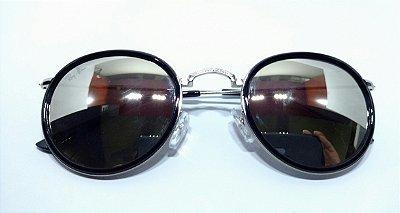 7f88e366c4ce0 Óculos de Sol Round Ray-Ban Espelhado Prata com Borda Masculino e Feminino