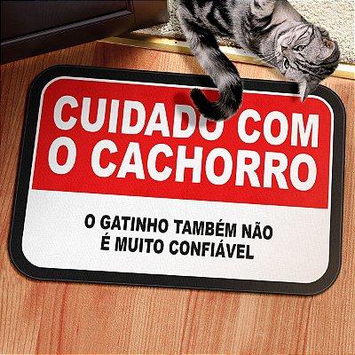Tapete Decorativo Cuidado com o Cachorro e Gato