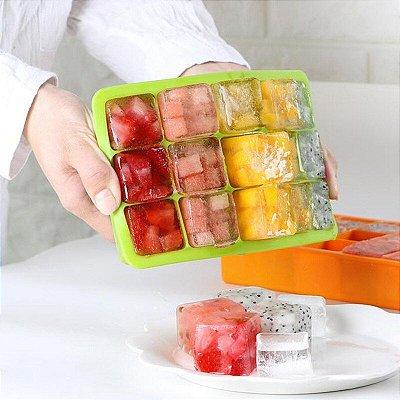 Forma de Gelo em silicone Dobrável Cubos Perfeitos e fáceis