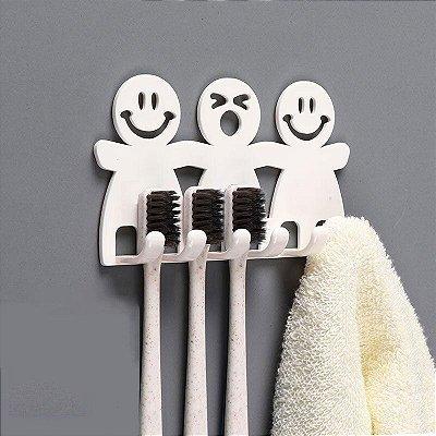 Suporte de Escova de Dente sem Furos Adesivo Sem Sujeira