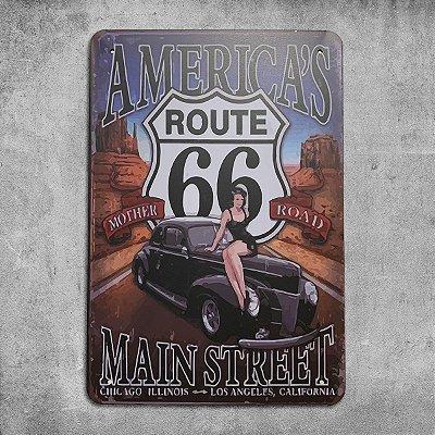 Placa de Metal Route 66 Americas Main Street Retrô Vintage