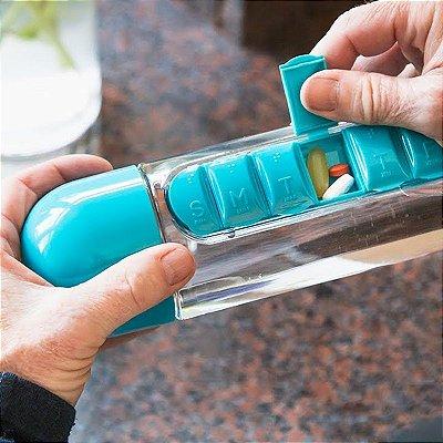 Garrafa com Porta Comprimidos Cápsulas dias da semana 600 ml