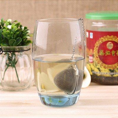 Infusor Aço Inox Esfera Chá Mini Peneira Coador com Corrente