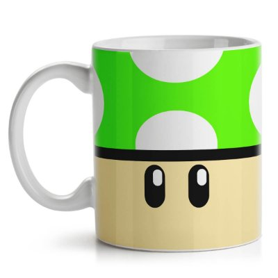 Caneca Gamer Cogumelo Verde 1 Up