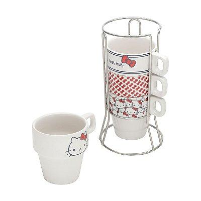Jogo de Xícaras Hello Kitty - 4 xícaras com suporte