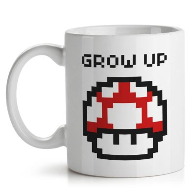 Caneca Cogumelo Pixel Grow Up