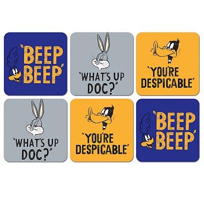 Porta Copos Looney Tunes Frases - set com 6