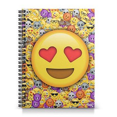 Caderno Universitário Capa Dura 1x1 - Emoticon - Emoji Amor
