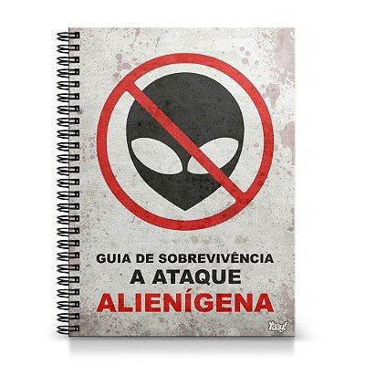 Caderno Universitário Capa Dura 1x1 - Guia de sobrevivência a ataque Alienígena