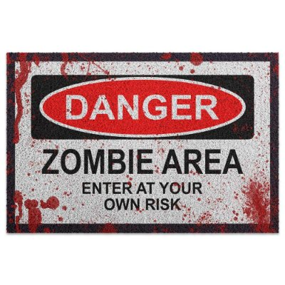 Capacho em Vinil Danger Zombie Area - 60 x 40