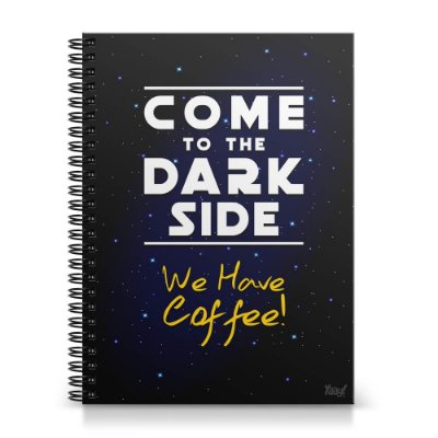 Caderno Universitário Capa Dura 1x1 - Come to the Dark Side We Have Coffee
