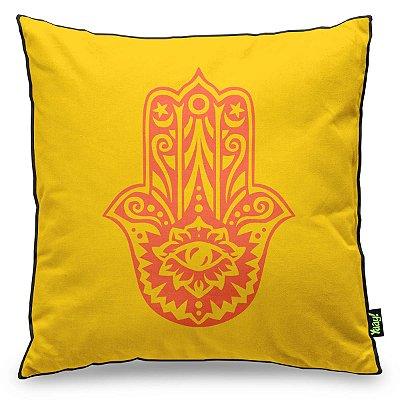Almofada Hamsá Mão de Deus - amarelo com fundo preto