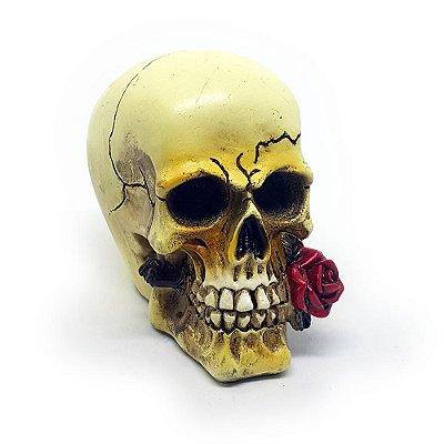 Mini Caveira Resina Red Rose