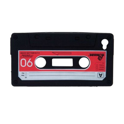 Capa em silicone para iPhone 4G - Fita Cassete - preto
