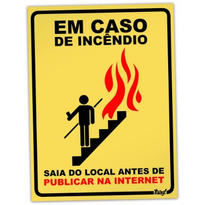 Placa em caso de Incêndio
