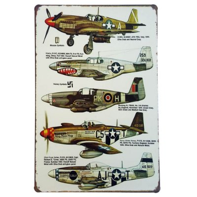 Placa de Metal Decorativa Aviões de Guerra - 30 x 20 cm
