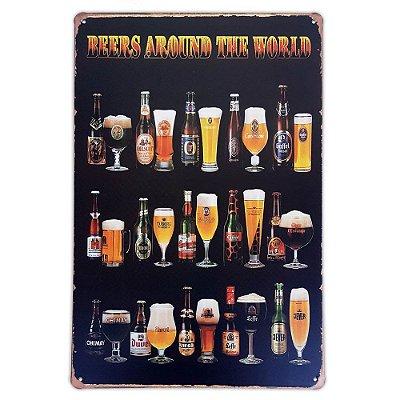 Placa de metal decorativa Retrô Beers Around the World