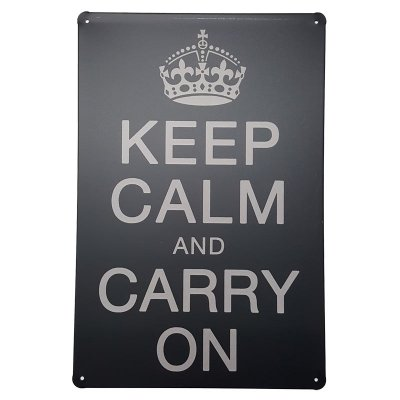 Placa de Metal Decorativa Keep Calm and Carry On