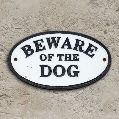 Placa Rústica de ferro Beware of the Dog