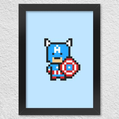 Poster com Moldura Capitão Pixel América