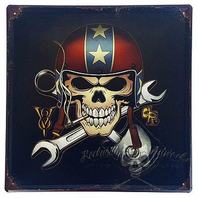 Placa de Metal Decorativa Skull - 30 x 30 cm