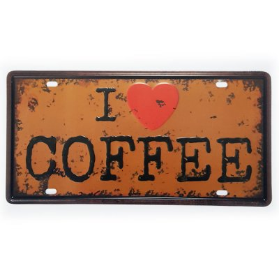 Placa de Metal Decorativa I Love Coffee