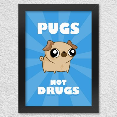 Poster com Moldura Pugs not Drugs - azul