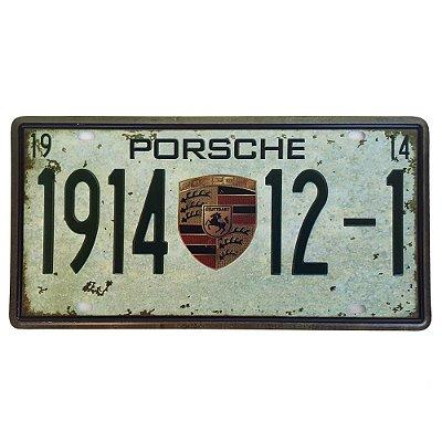 Placa de Metal Decorativa Porsche 1914 - 30,5 x 15,5 cm