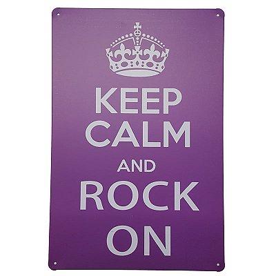 Placa de Metal Decorativa Keep Calm Rock on