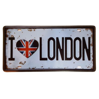 Placa de Metal Decorativa I Love London - 30,5 x 15,5 cm