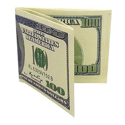Carteira Slim Dinheiro Nota de 100 Dólares antiga