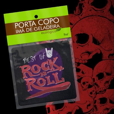 Par de Porta Copo Ecológico Imã Best of Rock - Disco LP