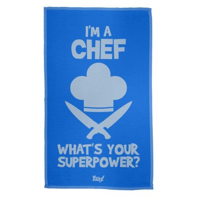 Pano de Prato Im a Chef Whats your superpower - azul