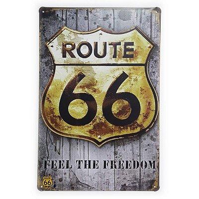 Placa de Metal Route 66 Feel the Freedom - 30 x 20 cm