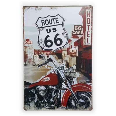 Placa de Metal Route 66 Hotel 66 Cafe - 30 x 20 cm