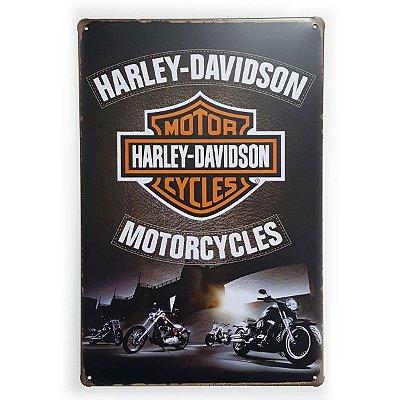 Placa de Metal Harley-Davidson Motorcycles - 30 x 20 cm