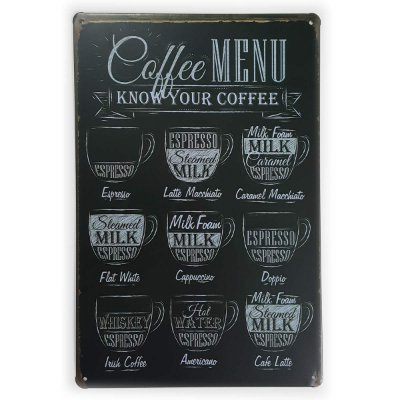 Placa de Metal Coffee Menu - 30 x 20 cm