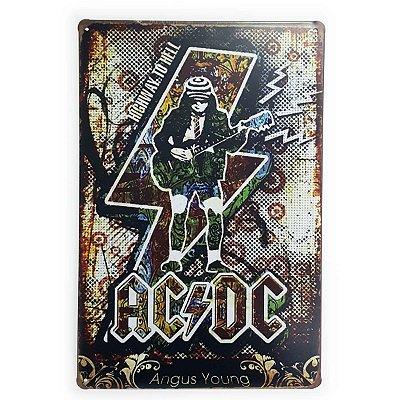Placa de Metal ACDC Angus Young - 30 x 20 cm