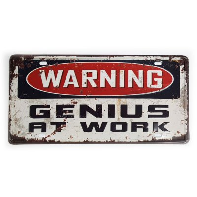 Placa de Metal Decorativa Warning Genius at Work - 30 x 15 cm