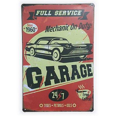 Placa de Metal Garage Full Service - 30 x 20 cm