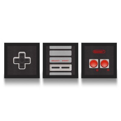 Set de Quadros Gamer Joystick 8-bits