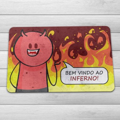 Capacho Eco Slim 3mm DrPepper Diabinho Bem vindo ao Inferno