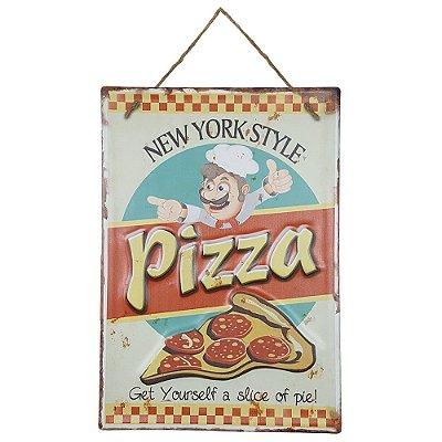 Placa de Metal Alto Relevo Pizza